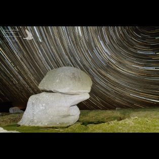 Startrails above the 'Punchbowl' on St Agnes