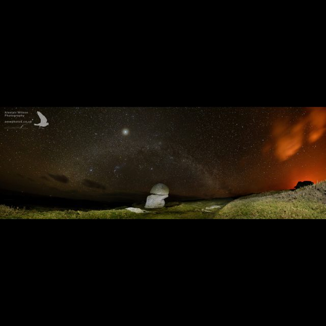 Panoramic image of the Milky way at the Punchbowl, St Agnes.