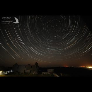 Star trails over the farm on Skomer Island