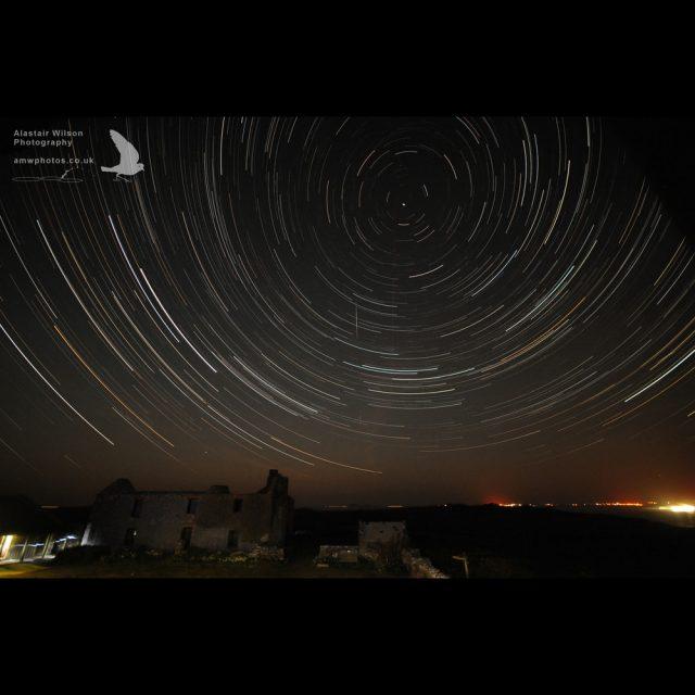 Star trails over the farm on Skomer Island