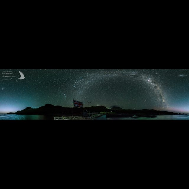 Bird Island panorama night sky