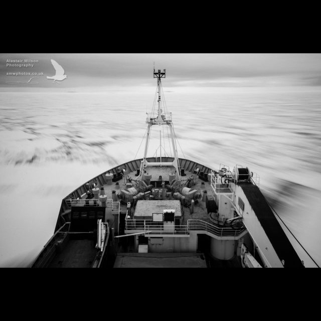 On board the JCR as it pushes through the sea ice around the South Orkney Islands, Antarctica.