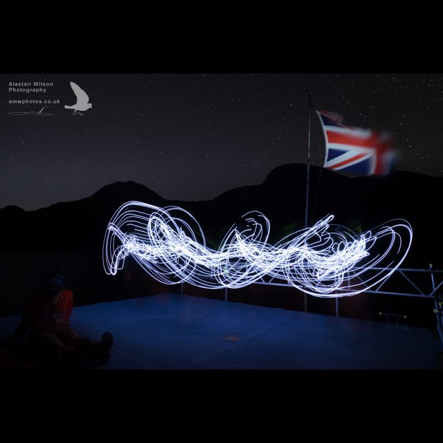 Light painting on the Bird Island jetty
