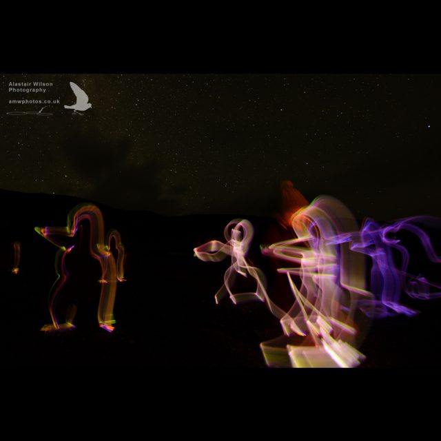 Penguins drawn in the dark with glow sticks