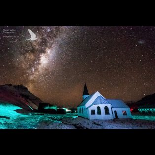 Grytviken church and the milky way